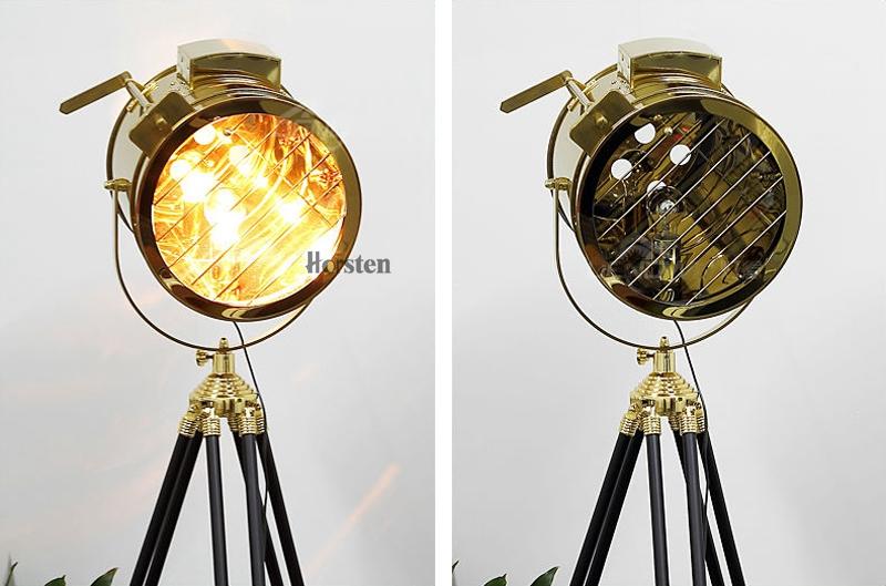 Industrial Bar Nordic American Creative Studio Silver Golden Floor Lights Tripod Searchlight Floor Lamps E27 (8)