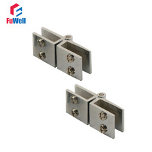 2pcs 180 Degree Adjustable Clamp Clip Door Hinge fit 6mm-8mm Bathroom Shower Glass Door(China)