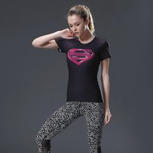 2017 New Marvel Heroes T Shirt Women T-shirt America 3D Print Avenger Compression T-Shirts Tops Superman Shirt Tights(China)