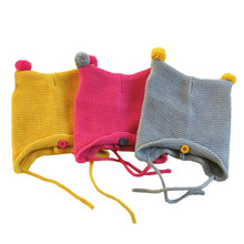 Cute Knit Newborn Baby Cap with Ears Cartoon Baby Bonnet Enfant Hat for 0-8 Months Boys Girls 1 PC