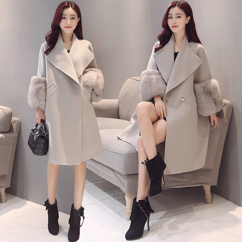Fashion-Fur-Sleeve-Winter-Women-Jacket-2017-New-Wool-Coat-Solid-Slim-Thicken-Outwear-For-Female