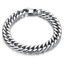 Simple Punk Stainless Steel Mens Bracelets Bangles Classical 316L Steel Chain Bracelet width 6/8/10/12mm Jewellery Gift