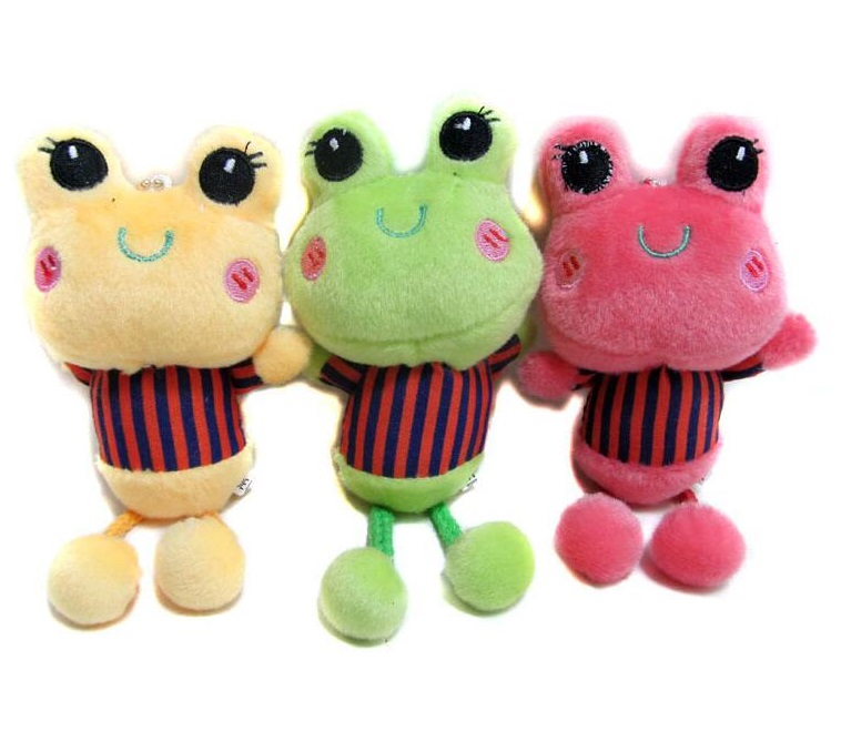 Cute cartoon hanging frog with suction cups car interiors supplies ornaments bags pendant plush toys 10pcs/sets<br><br>Aliexpress