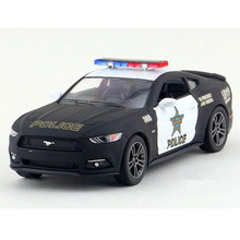 KINSMART 1:38 Scale Black Police Diecast Metal Cars Model, Simulation Pull Back Cars Toy / Brinquedos,Toys For Children