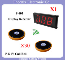 restaurant pager guest call wireless paging System With 1 Counter Display P-403 And 30 Waiter Bell Buzzer(China)