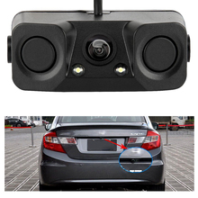 3 in 1 Universal 12V Car Parking Sensors Reverse Radar system Backup HD Camera Radar Sensor