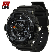 TTLIFE Brand Watches Men G Style Sports Chronograph Digital LED Back Light Watch Waterproof Digital Mens Wristwatch TS08(China)