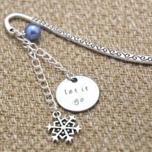 12pcs Let It Go gift bookmark Big snowflake charm Elements Crystal bookmark(China)