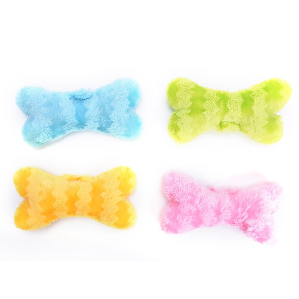 New Bone Shape Puppy Cat Chew SqueakyToy Chew Fetch Toy Soft Fluffy Sound Puppy Bite Play Plush Toy