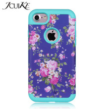 Shockproof Phone Cases For iPhone 7 Cover TPU+PC 2 in 1 Hybrid Flower Floral Telephone Case For Ayfon iPhone7 Covers Back Shell