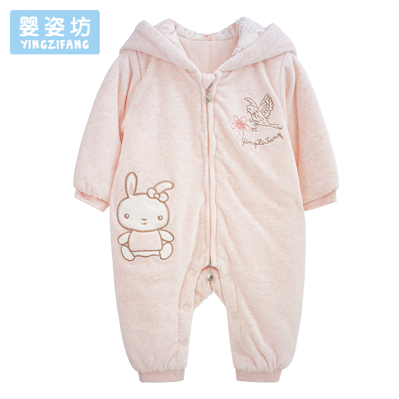 2017 Fashion Baby Girls Clothing Cute Rabbit Pattern Newborn Clothes Hooded Long Sleeve Infantil Costume Girl Baby Rompers <br>