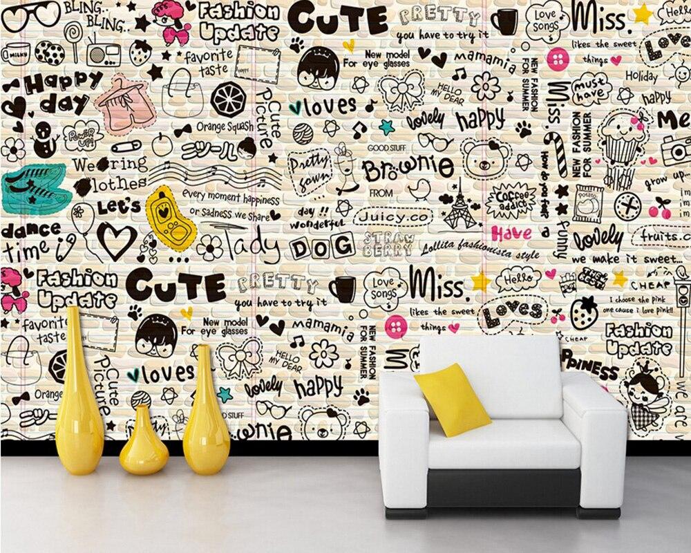 Custom children wallpaper,Cartoon English,3D cartoon murals for childrens bedrooms restaurants backdrop PVC wallpaper<br>