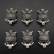 10pcs Antiqued Silver Owl Bird Design Alloy Beads Cage Locket Perfume Essential Oil Diffuser Trendy Charm Pendant Jewelry Making