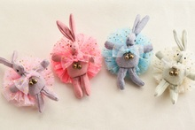 20pcs Fashion Cute Glitter Star Lace Rabbit Girls Elastic Hair Bands Kawaii Solid Stuffed Bunny Girls Pony Tail Holder Rope Gum