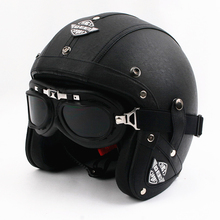2016 New Leather Motorcycle Harley Helmets Vintage Motorbike Scooter open face helmet Capacete with Goggles DOT Approved
