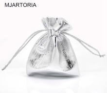 MJARTORIA 100PCs Silver Plated Satin Gift Bags Drawstring Jewelry Packaging Bags Christmas Wedding Gift Bags Fit Lovely Beads