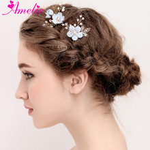 Wedding Jewelry Cute Blue Flower Hair Pins Flower Charm Centered Bride Hair Stick Headpiece Bridal Bridesmaid Hair Accessories(China)