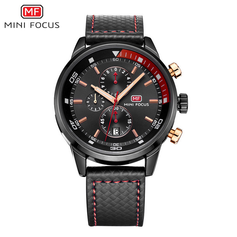 MINI FOCUS Men Watches 30M Water Resistant Small Subdials Timers Calendar Three Button Watch Genuine Leather Band Wristwatches<br>