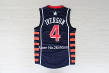 #4 Allen Iverson Dream Team USA Basketball Jersey Embroidery Stitched S-XXL(China)