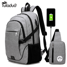 2Pcs/Sets Fashion Backpacks USB Charging Travel Business Laptop Backpack Men School Bag Teenager Large Capacity Unisex Bags - FashionUp-50% off for all Store store