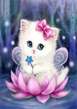 Diy Diamond Painting Cross Stitch Lotus cat Round Rhinestone Diamond Embroidery Animals Diamond Picture