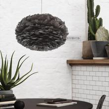 Shopcase Led E27 Gray Black Feather pentadent lights for Salon Bedroom Children Room Post Modern Art Nest Lampe Bar Feather lamp