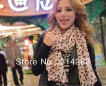 women's fashion printe cat chiffon silk long shawls/scarves/scarf.165*70cm,mix color order