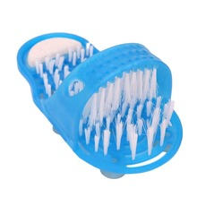1PCS Shower Foot Feet Cleaner massage Scrubber Washer Foot Health Care Household Bathroom Stone Massager Slipper Blue footbrush(China)