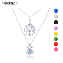 Legenstar Wholesale Tree of Life Pendant Choker Necklace Angel Wings Fragrance Essential Oils Diffuser Double Cloak Necklace