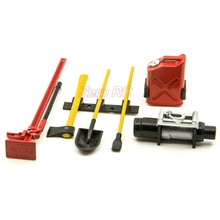 1/10 RC Crawler Scale Accessory Tool Set Axe Digging Shovel Oil Tank (RED) For AXIAL SCX10 D90 CC01 Truck