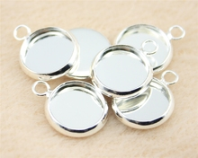WYSIWYG 20pcs Fit For 10mm Round Glass Cabochon Shiny Silver Color Brass Material One Side 1 Hole Cameo Setting DIY Tray H186