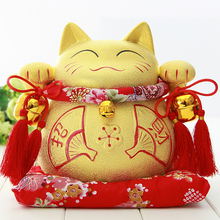 Crafts Arts Home decoration Lucky Cat ornaments large ceramic jar gold red fan Zhaocai shop opened a birthday gift ideas