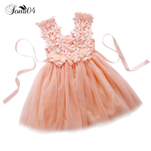 2018 Summer Baby Flower Girl Mesh Dress Lace White Pink Blue Purple Green Red Colors Clothes Tutu Princess Children Vest Dresses(China)