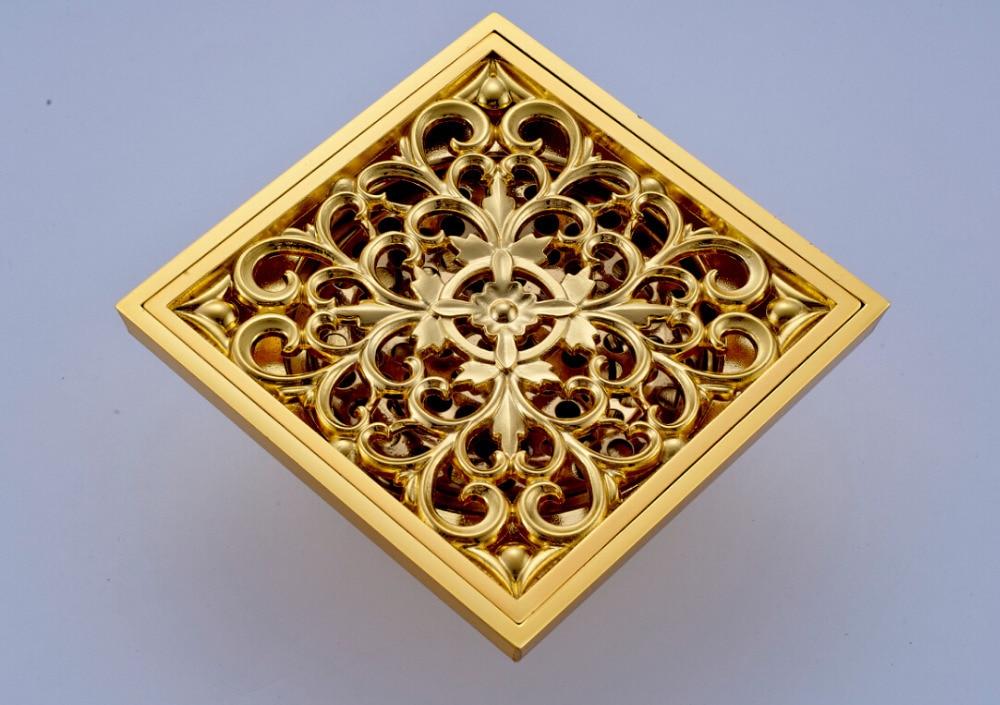 Golden Brass Flower Carved 4 Square Bathroom Shower Drain Grate Waste Drain<br><br>Aliexpress