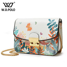 WDPOLO flora land printed women bag pu leather lady messenger bag chic girl chain shoulder bags hot sell crossbody bolsa AA055