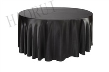 10pcs Customized 132'' Black Round Dining Table Cloths Satin Tablecloths for Wedding Party Decoration Restaurant Free Shipping
