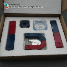 2 sets Magnetic Teaching Tool Kit Horseshoe Magnet U type and compass with two rings two bar magnet / Toy magnet