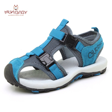 Muababy Children's Sandals Summer girls boys beach Sandals Shoes Closed Toe Sandals Casual Genuine Leather for Sports Kids S50