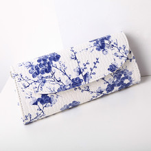 new China style Plum flower casual clutch bag blue and white porcelain folk style shoulder bag messenger Crossbody Bags(China)
