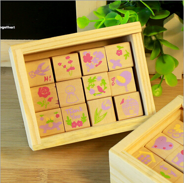 Colorful creative Vintage Spring Time series DIY Multifunction wood stamp set /No.0053<br><br>Aliexpress