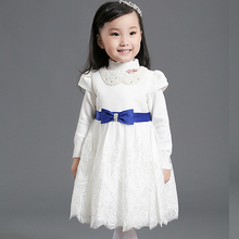 Nimble Baby Girl Dress White Short Sleeve Lace Flower  Mesh Pageant Wear Blue Bow Ribbon Toodler Girls Satin Dress