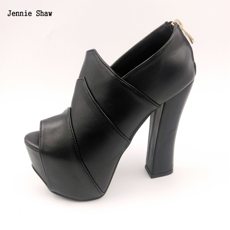 Spring Autumn New Sexy Club Super High Heel 14cm Platform Womens Peep Toe Boots<br>