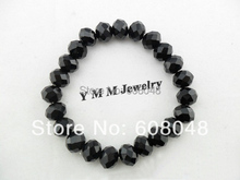 10mm Faceted Crystal Beaded Bracelet For Women Simple Black Crystal Bracelets 20pcs/lot Free Shipping