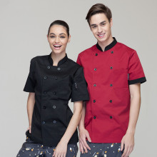 (5 get 10% off, 10 get apron)High-end classy man/woman chef wear uniform clothes short sleeve restaurant hotel kitchen coverall