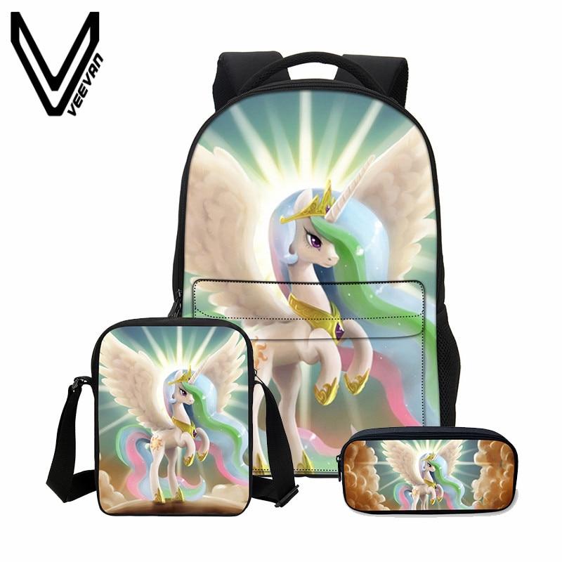 VEEVANV Children Backpack Boys Shoulder Bag New 3 PCS/SET 3D Unicorn Printing Backpack School Bag Cool Cortoon Bookbag Fashion<br>