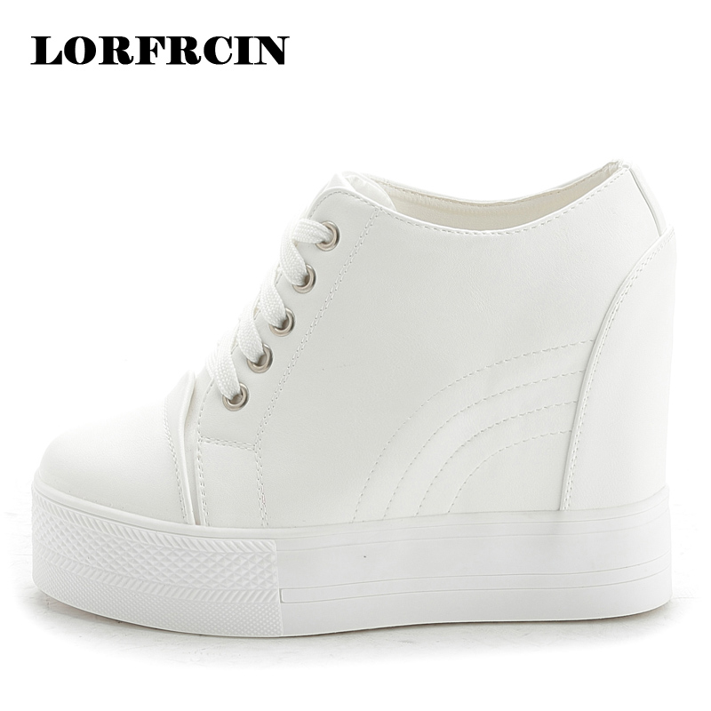 LORFRCIN Casual Shoes Woman 11 cm Pumps Wedges Platform Shoes White Black Height Increasing Trainers Autumn Leather Women Shoes<br>