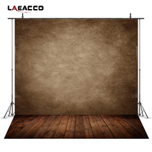 Laeacco Gradient Brown Wall Wooden Floor Portrait Photography Backgrounds Vinyl Custom Camera Photo Backdrops For Photo Studio(China)