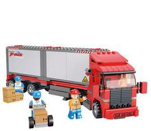 BOHS Models & Building Toy Plastic Container Truck Blocks DIY Kids Double VanTwin Engine