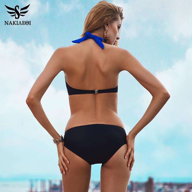 NAKIAEOI 19 New Sexy Bikinis Women Swimsuit High Waisted Bathing Suits Swim Halter Push Up Bikini Set Plus Size Swimwear 4XL 10