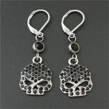 New Arrival Personal Design Crystal Skull Biker Earrings 316L Stainless Steel Fashion Jewelry Biker Skull Earrings